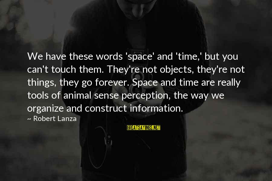 Robert Lanza Sayings By Robert Lanza: We have these words 'space' and 'time,' but you can't touch them. They're not objects,