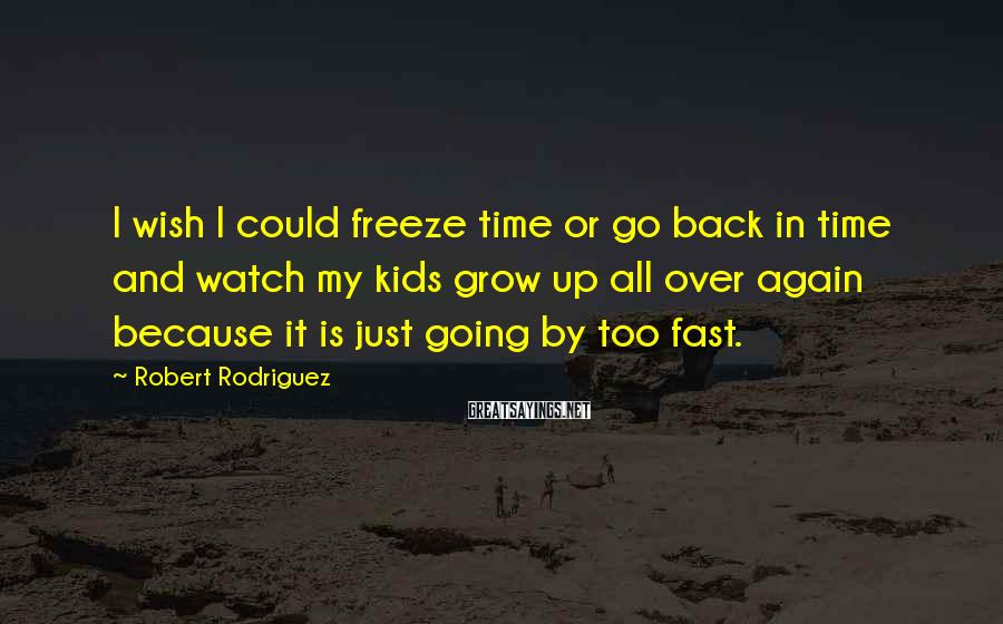Robert Rodriguez Sayings: I wish I could freeze time or go back in time and watch my kids