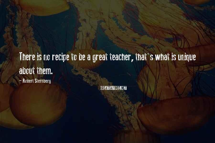 Robert Sternberg Sayings: There is no recipe to be a great teacher, that's what is unique about them.