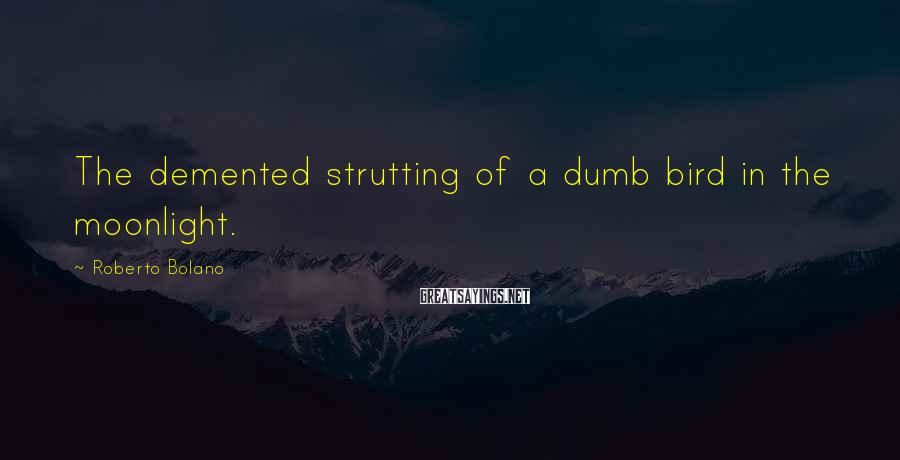 Roberto Bolano Sayings: The demented strutting of a dumb bird in the moonlight.