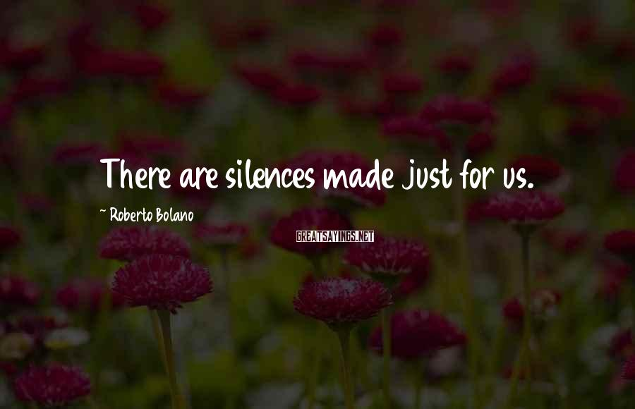 Roberto Bolano Sayings: There are silences made just for us.