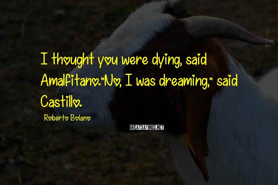 "Roberto Bolano Sayings: I thought you were dying, said Amalfitano.""No, I was dreaming,"" said Castillo."