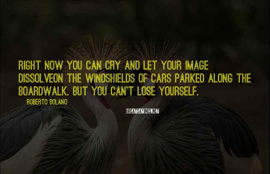 Roberto Bolano Sayings: Right now you can cry and let your image dissolveon the windshields of cars parked