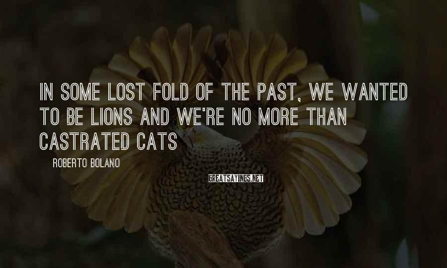 Roberto Bolano Sayings: In some lost fold of the past, we wanted to be lions and we're no