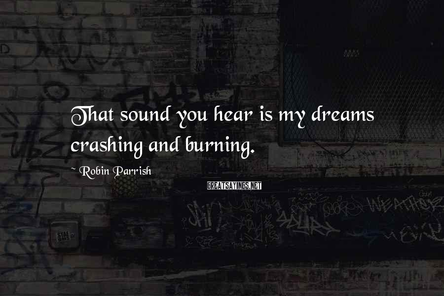 Robin Parrish Sayings: That sound you hear is my dreams crashing and burning.