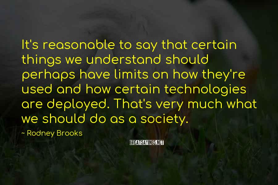 Rodney Brooks Sayings: It's reasonable to say that certain things we understand should perhaps have limits on how