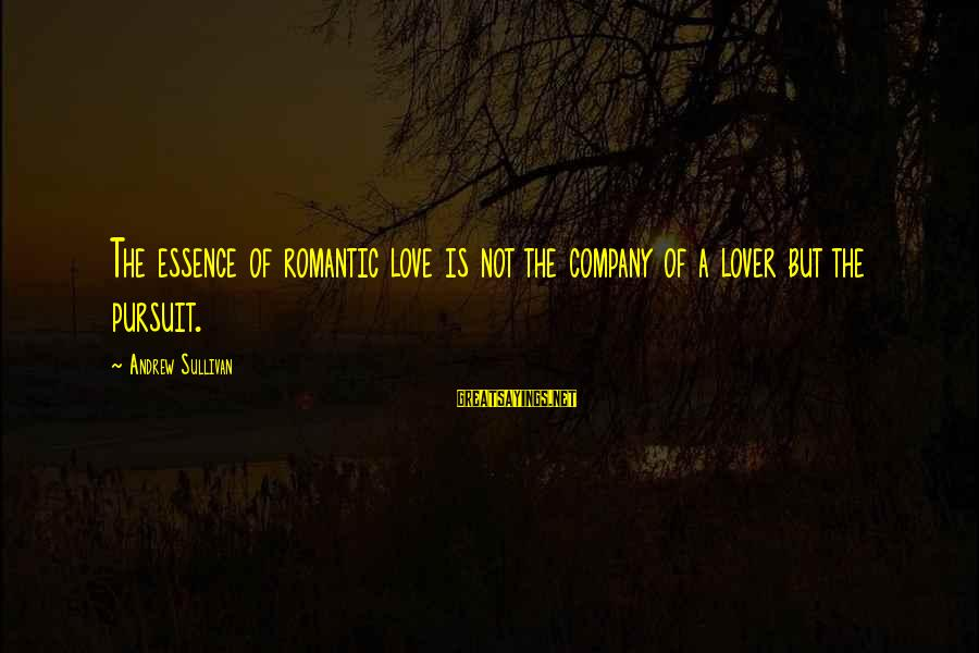 Romantic Lover Sayings By Andrew Sullivan: The essence of romantic love is not the company of a lover but the pursuit.
