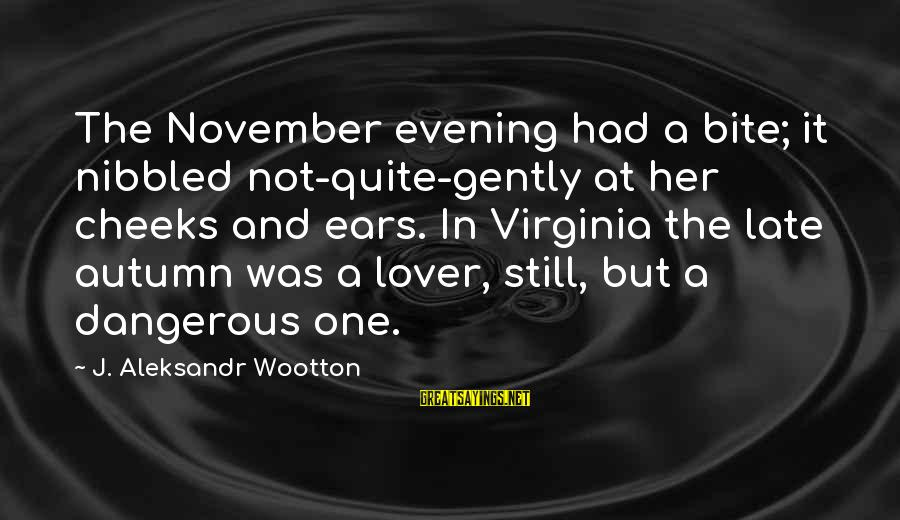 Romantic Lover Sayings By J. Aleksandr Wootton: The November evening had a bite; it nibbled not-quite-gently at her cheeks and ears. In