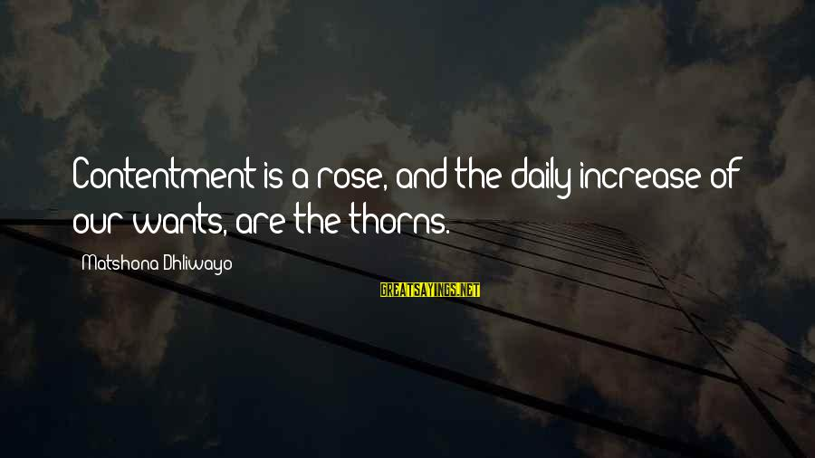 Rose And Thorns Sayings By Matshona Dhliwayo: Contentment is a rose, and the daily increase of our wants, are the thorns.