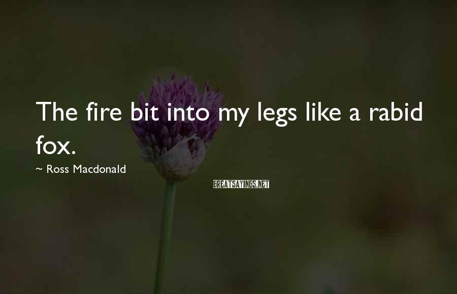Ross Macdonald Sayings: The fire bit into my legs like a rabid fox.