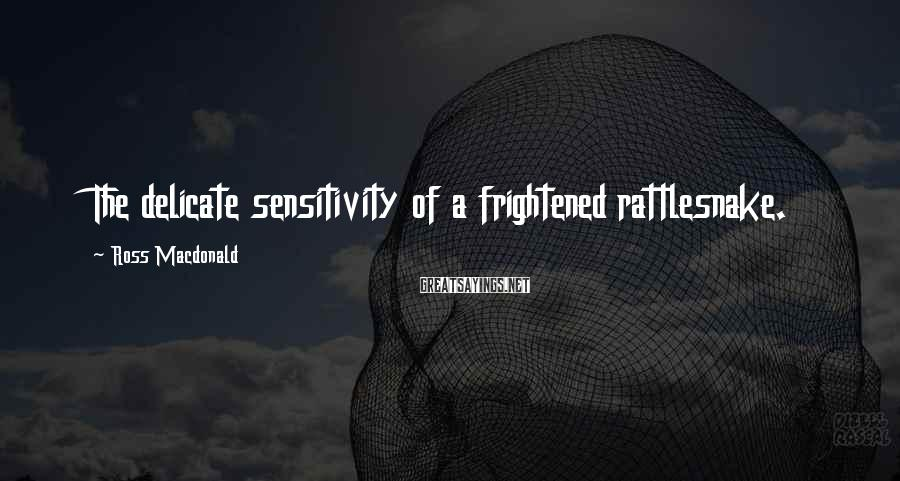 Ross Macdonald Sayings: The delicate sensitivity of a frightened rattlesnake.