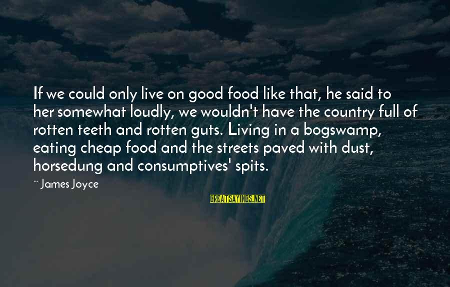 Rotten Food Sayings By James Joyce: If we could only live on good food like that, he said to her somewhat