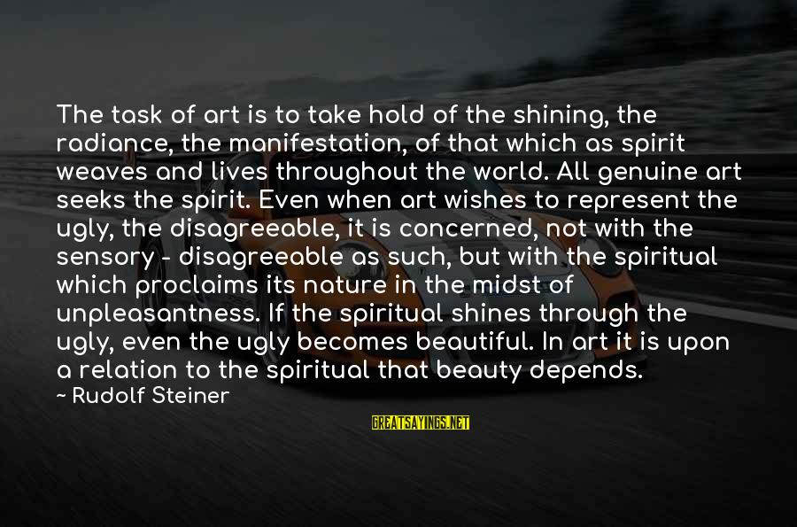 Rudolf Steiner Sayings By Rudolf Steiner: The task of art is to take hold of the shining, the radiance, the manifestation,