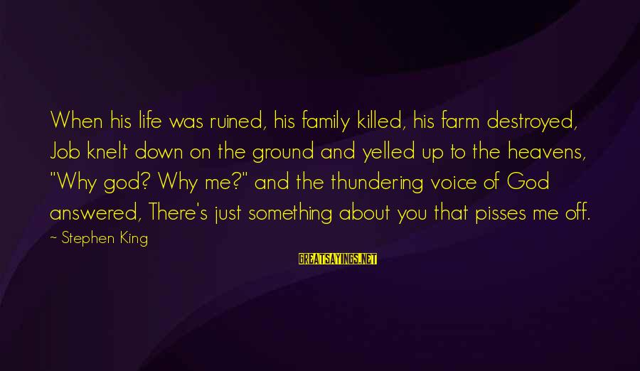 Ruined Me Sayings By Stephen King: When his life was ruined, his family killed, his farm destroyed, Job knelt down on