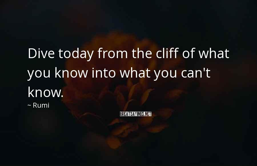 Rumi Sayings: Dive today from the cliff of what you know into what you can't know.