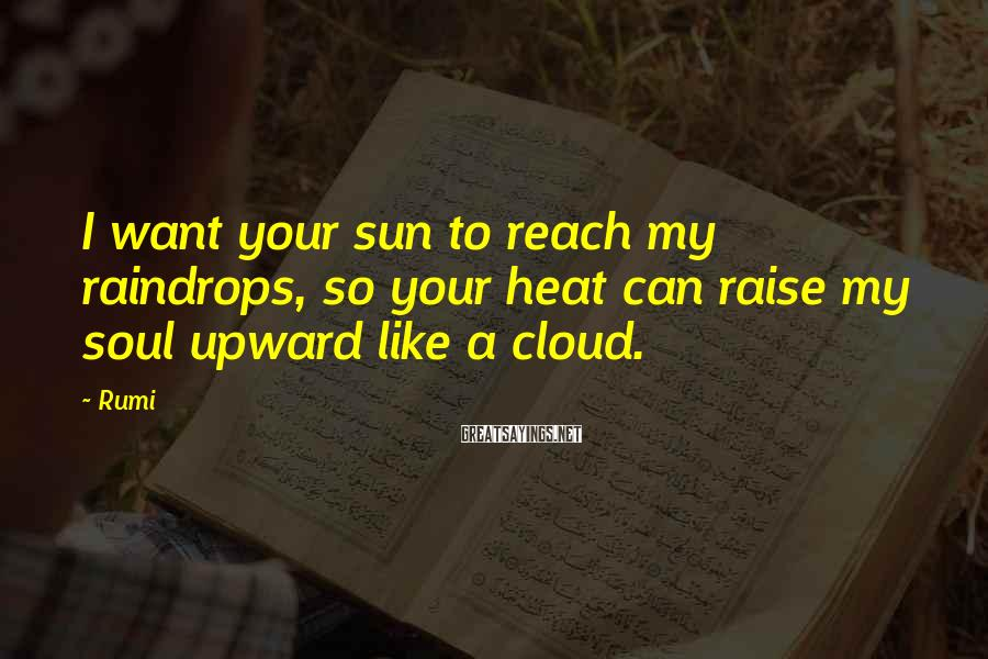 Rumi Sayings: I want your sun to reach my raindrops, so your heat can raise my soul