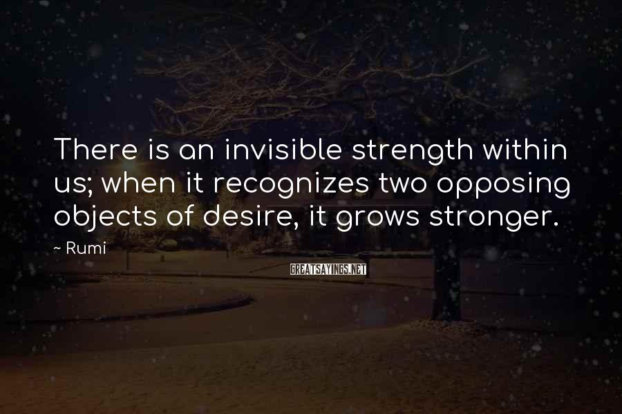 Rumi Sayings: There is an invisible strength within us; when it recognizes two opposing objects of desire,