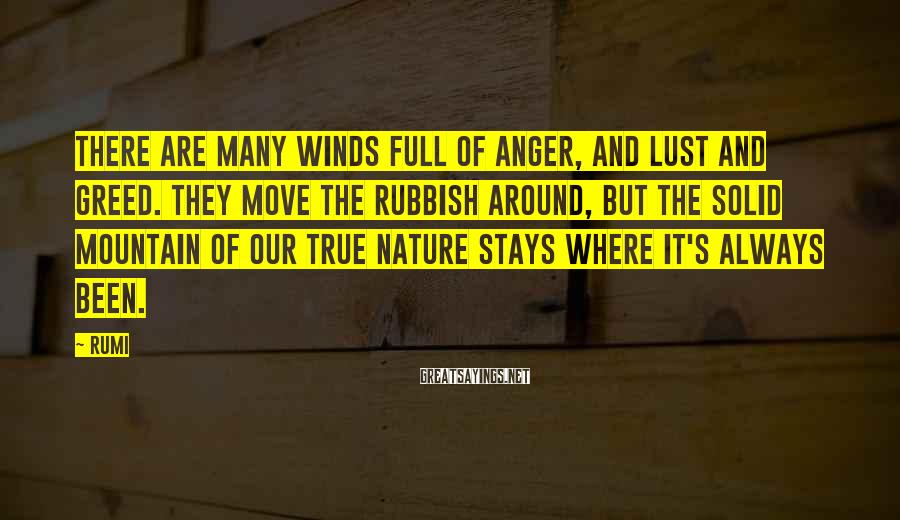 Rumi Sayings: There are many winds full of anger, and lust and greed. They move the rubbish
