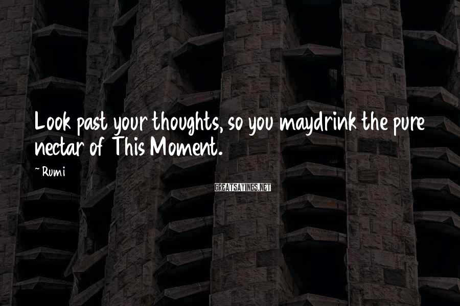 Rumi Sayings: Look past your thoughts, so you maydrink the pure nectar of This Moment.