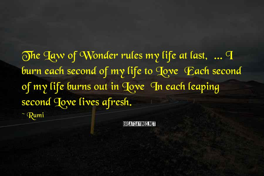 Rumi Sayings: The Law of Wonder rules my life at last, ... I burn each second of