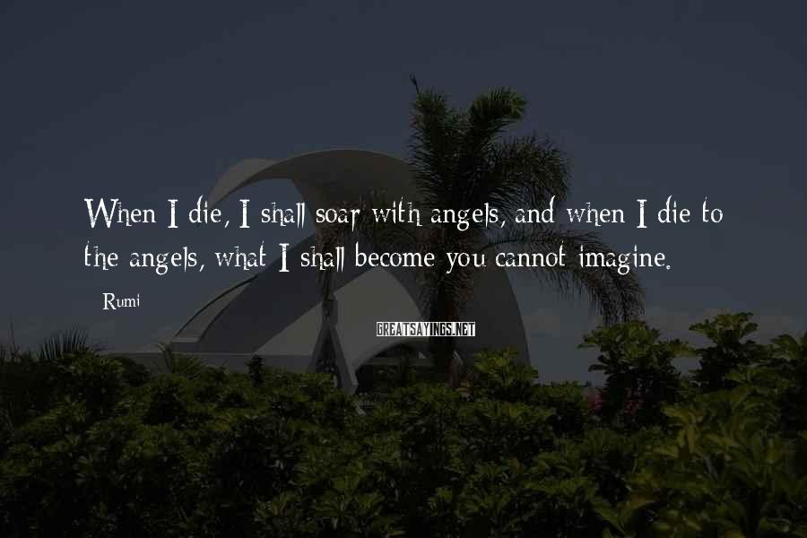 Rumi Sayings: When I die, I shall soar with angels, and when I die to the angels,