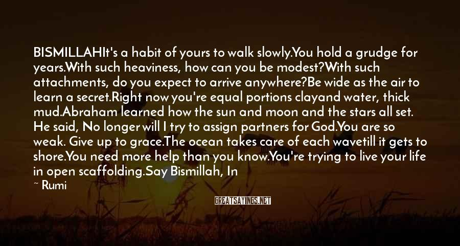 Rumi Sayings: BISMILLAHIt's a habit of yours to walk slowly.You hold a grudge for years.With such heaviness,