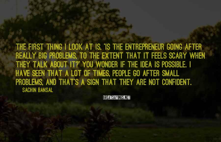 Sachin Bansal Sayings: The first thing I look at is, 'Is the entrepreneur going after really big problems,