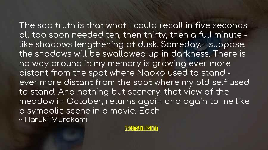 Sad Self Sayings By Haruki Murakami: The sad truth is that what I could recall in five seconds all too soon