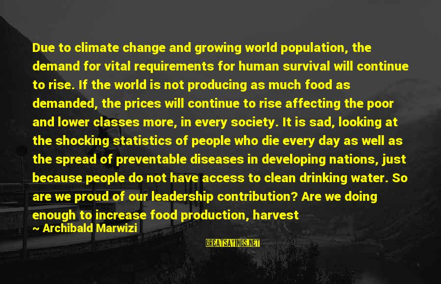 Sad Water Sayings By Archibald Marwizi: Due to climate change and growing world population, the demand for vital requirements for human