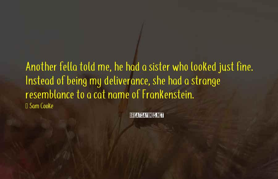 Sam Cooke Sayings: Another fella told me, he had a sister who looked just fine. Instead of being