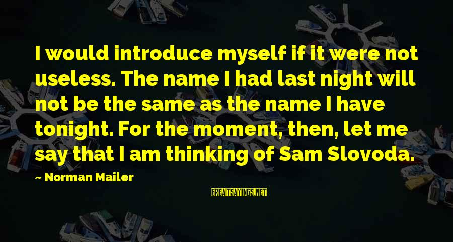 Sam I Am Sayings By Norman Mailer: I would introduce myself if it were not useless. The name I had last night