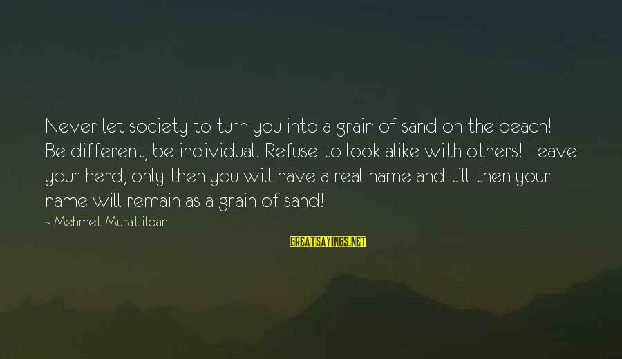 Sand On The Beach Sayings By Mehmet Murat Ildan: Never let society to turn you into a grain of sand on the beach! Be