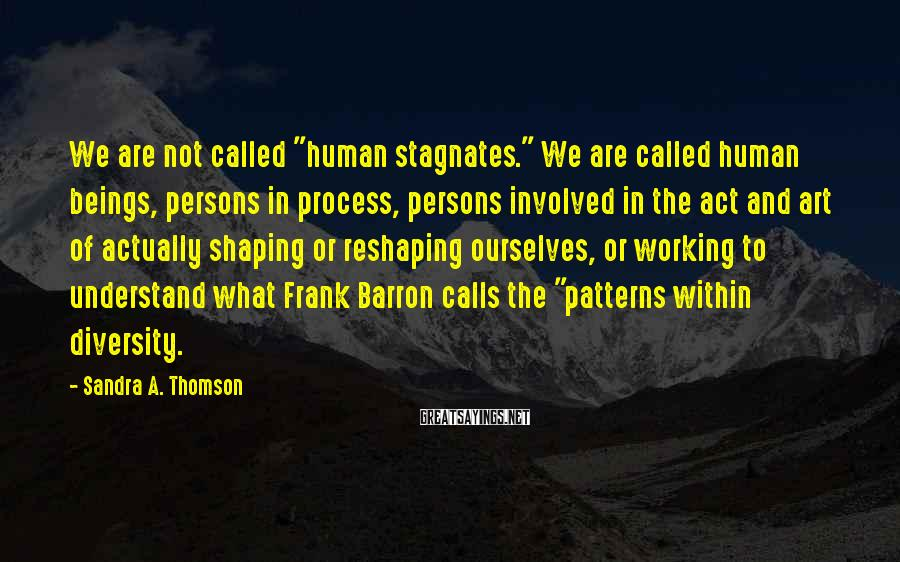 """Sandra A. Thomson Sayings: We are not called """"human stagnates."""" We are called human beings, persons in process, persons"""