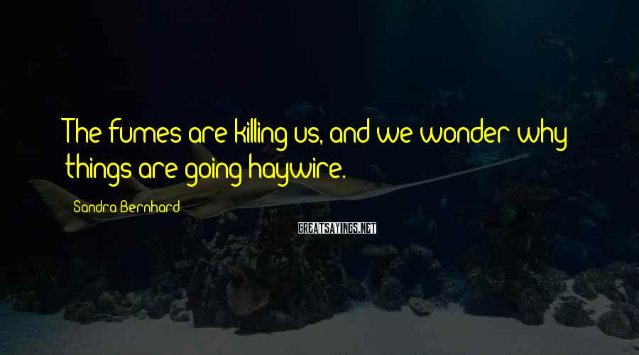 Sandra Bernhard Sayings: The fumes are killing us, and we wonder why things are going haywire.