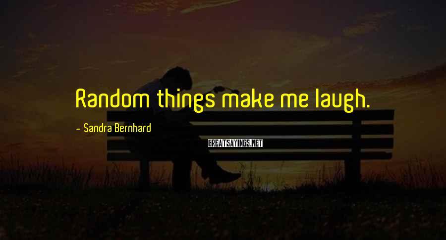Sandra Bernhard Sayings: Random things make me laugh.