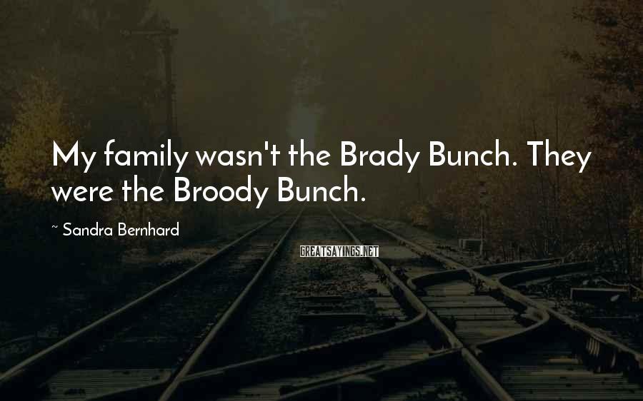 Sandra Bernhard Sayings: My family wasn't the Brady Bunch. They were the Broody Bunch.