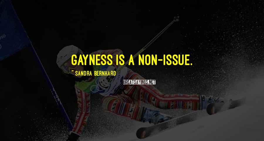 Sandra Bernhard Sayings: Gayness is a non-issue.