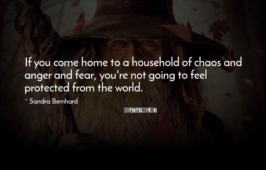 Sandra Bernhard Sayings: If you come home to a household of chaos and anger and fear, you're not