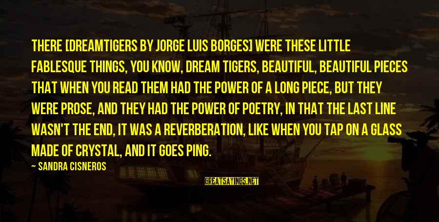 Sandra Cisneros Poetry Sayings By Sandra Cisneros: There [DreamTigers by Jorge Luis Borges] were these little fablesque things, you know, dream tigers,