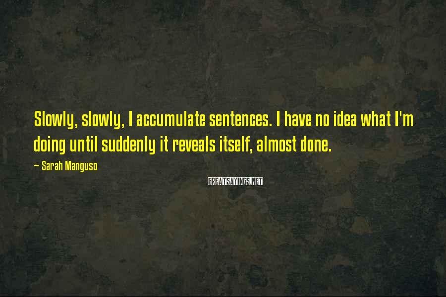 Sarah Manguso Sayings: Slowly, slowly, I accumulate sentences. I have no idea what I'm doing until suddenly it