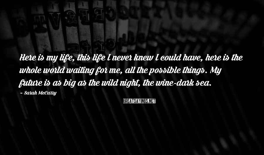 Sarah McCarry Sayings: Here is my life, this life I never knew I could have, here is the