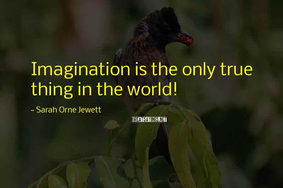 Sarah Orne Jewett Sayings: Imagination is the only true thing in the world!