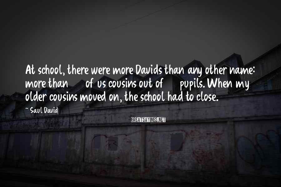 Saul David Sayings: At school, there were more Davids than any other name: more than 20 of us