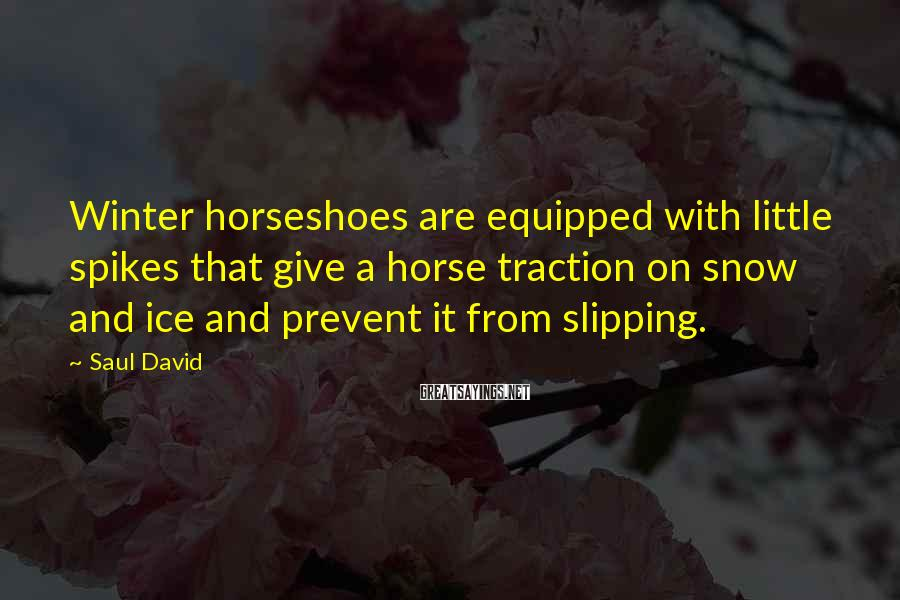 Saul David Sayings: Winter horseshoes are equipped with little spikes that give a horse traction on snow and