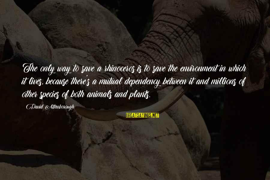 Save Environment Sayings By David Attenborough: The only way to save a rhinoceros is to save the environment in which it