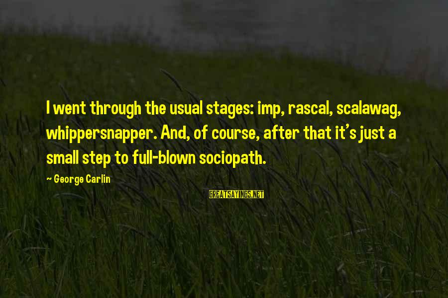 Scalawag Sayings By George Carlin: I went through the usual stages: imp, rascal, scalawag, whippersnapper. And, of course, after that