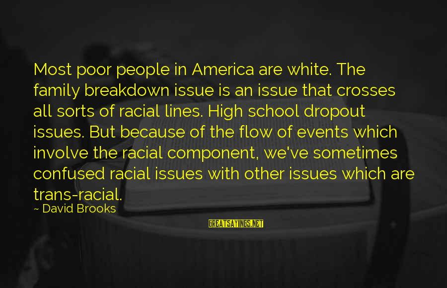 School Dropout Sayings By David Brooks: Most poor people in America are white. The family breakdown issue is an issue that