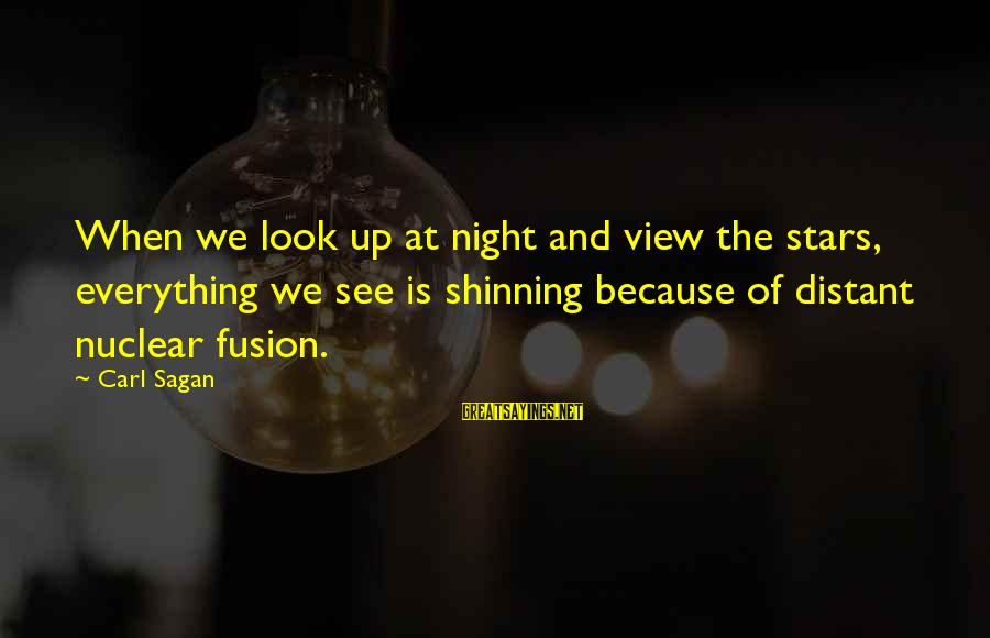 Science Carl Sagan Sayings By Carl Sagan: When we look up at night and view the stars, everything we see is shinning