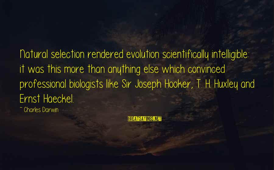 Scientifically Sayings By Charles Darwin: Natural selection rendered evolution scientifically intelligible: it was this more than anything else which convinced