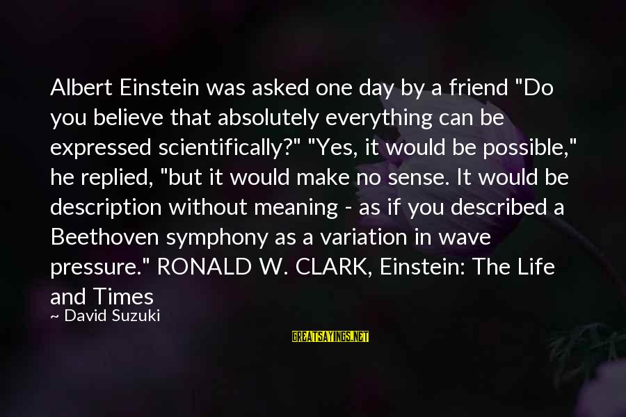 "Scientifically Sayings By David Suzuki: Albert Einstein was asked one day by a friend ""Do you believe that absolutely everything"